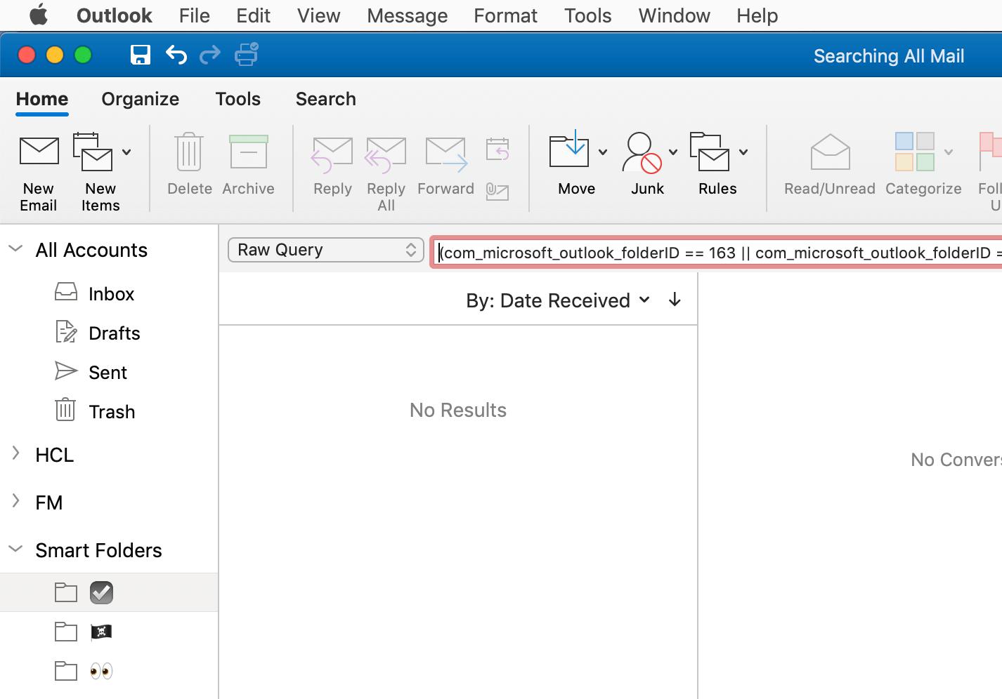 Outlook for Mac Raw Query based Smart Folder · Padraic Renaghan